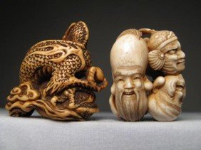 TWO CHINESE CARVED IVORY NETSUKES