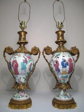 ROSE FAMILLE  BRONZE ORMOLU VASES AS LAMPS
