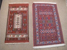 TWO SMALL WOVEN PERSIAN RUGS