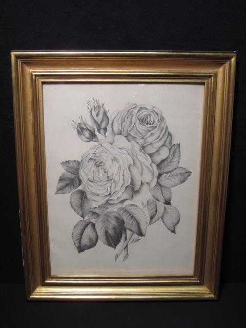 127: VICTORIAN PENCIL DRAWING: ROSES