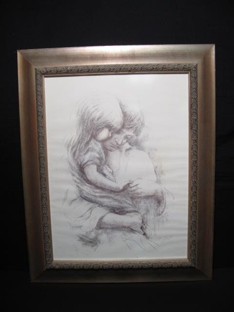 132: CHARCOAL DRAWING: FATHER & DAUGHTER: ZAPP
