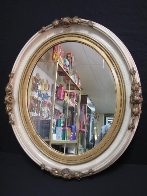 133: FLORAL & GILT OVAL WALL MIRROR