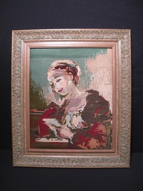 135: FRAMED NEEDLEPOINT: WOMAN READING