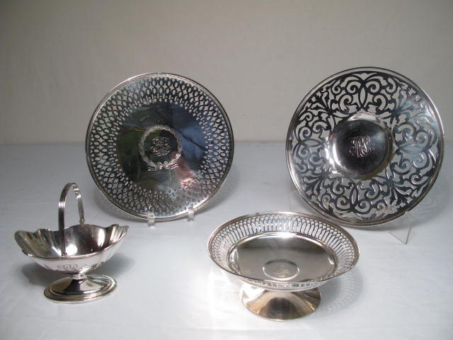 138: AMERICAN STERLING SILVER PLATES, TAZZA, BASKET