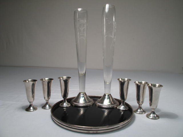 143: LOT STERLING CORDIALS, FLUTES & TRAY