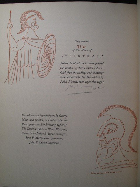 359: ARISTOPHANES LYSISTRATA & SIX PICASSO ETCHINGS SIG - 3