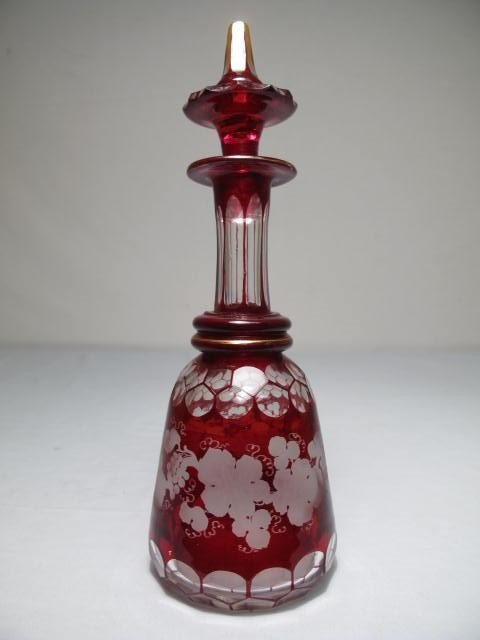 5: BOHEMIAN RUBY CUT TO CLEAR DECANTER