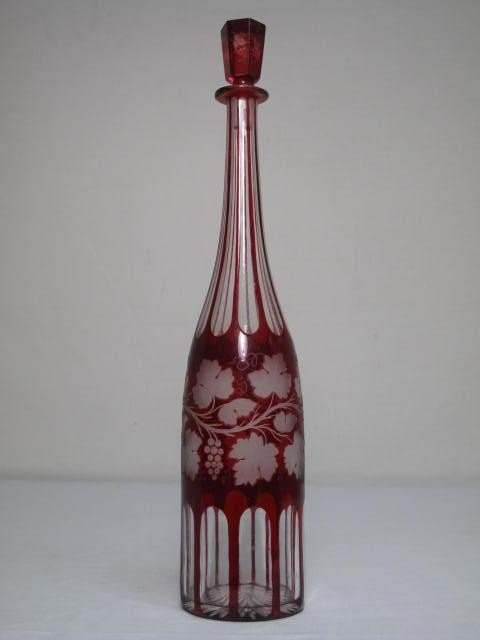 7: BOHEMIAN CRANBERRY CUT TO CLEAR GLASS DECANTER