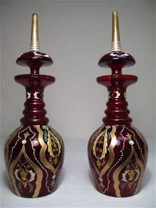 PAIR ENAMELED BOHEMIAN GLASS DECANTERS