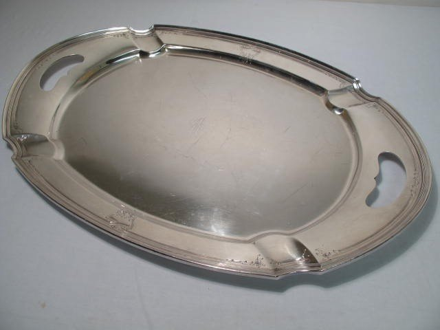 9: HEPPLEWHITE SILVER PLATED OVAL LARGE TRAY