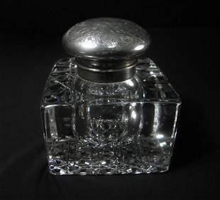 AMERICAN BRILLIANT CUT GLASS INKWELL: STERLING SILV