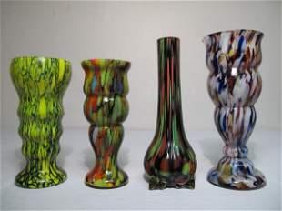 FOUR CZECHOSLOVAKIAN ART GLASS END OF DAY VASES