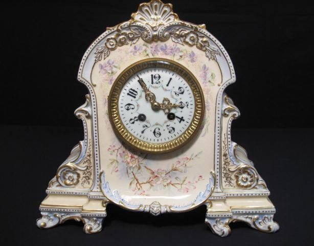 18: JAPY FRERES ROYAL BONN PORCELAIN MANTLE CLOCK