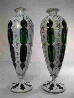 PAIR OF BOHEMIAN GILT & ENAMELED CASED GLASS VASES