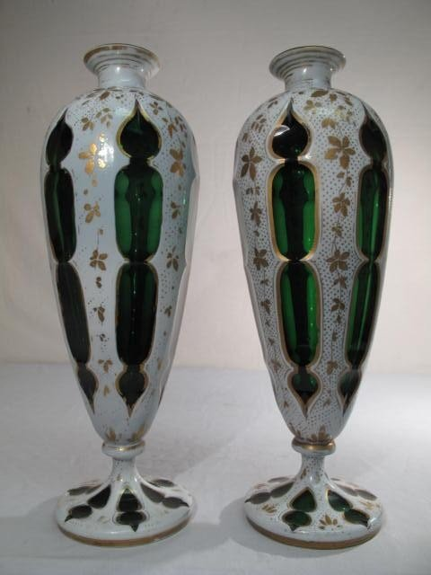 19: PAIR OF BOHEMIAN GILT & ENAMELED CASED GLASS VASES