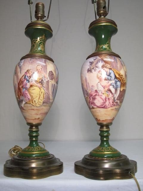 51: PAIR SEVRES ARTIST SIGNED PORCELAIN LAMPS
