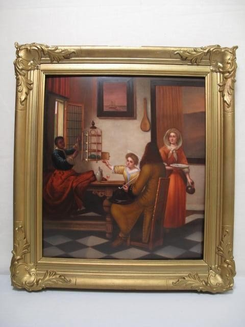 120: 19TH C KPM PAINTED PORCELAIN PLAQUE INTERIOR SCENE