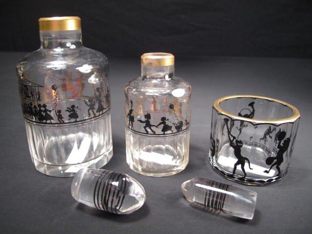 351: STEINSCHONAU ENAMELED GLASS SCENT BOTTLE SET - 2