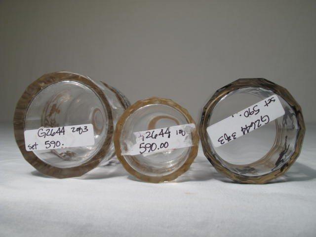 351: STEINSCHONAU ENAMELED GLASS SCENT BOTTLE SET - 7