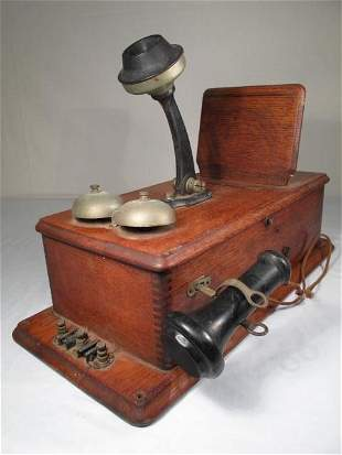 TWO ANTIQUE WALL TELEPHONES: STROMBERG CARLSON