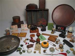 ESTATE LOT ASSORTED SMALL ITEMS, BOXES ETC