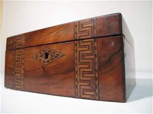 BURLED INLAY WOODEN SEWING BOX