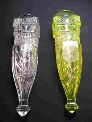 TWO AUTOMOBILE BUD VASES - VASELINE GLASS & CLEAR