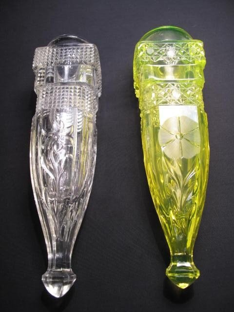 20: TWO AUTOMOBILE BUD VASES - VASELINE GLASS & CLEAR