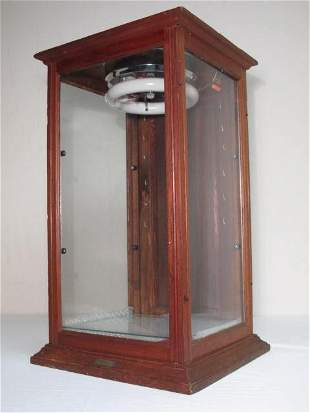 ANTIQUE WOOD & GLASS LIT STORE DISPLAY CASE