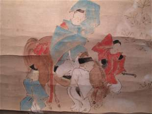 JAPANESE SCROLL WATERCOLOR PAINTING
