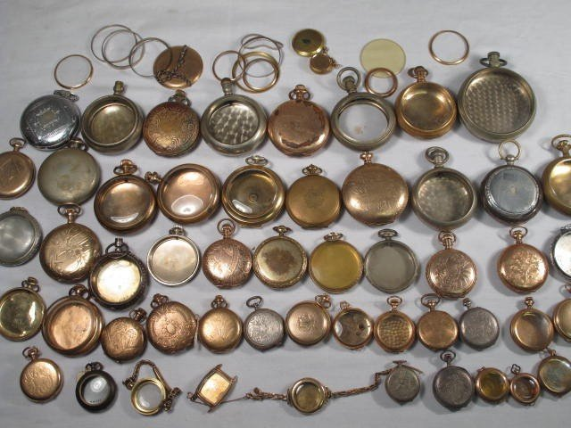 43: BOX LOT ASSORTED POCKET WATCH CASES
