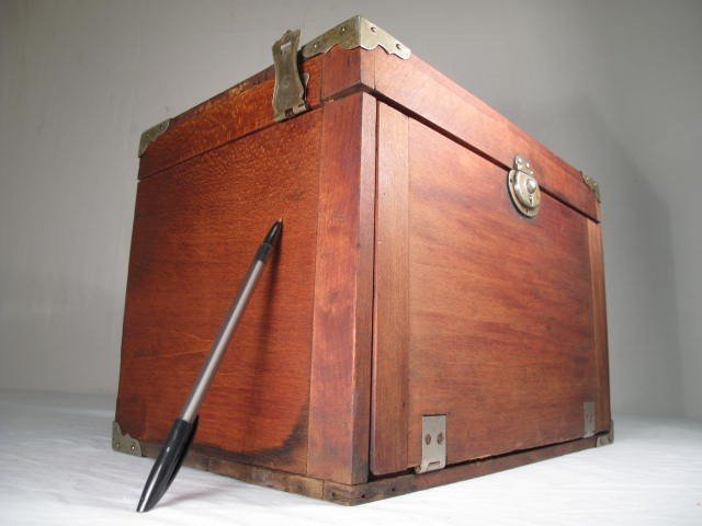 53: WOODEN VELVET LINED DENTIST TOOL BOX - 10