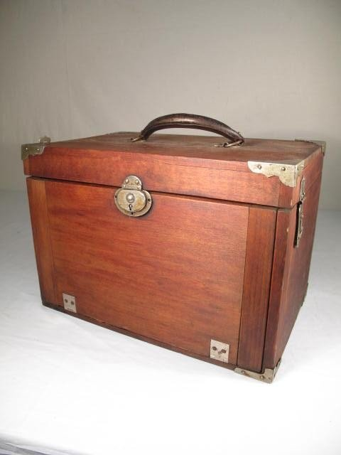 53: WOODEN VELVET LINED DENTIST TOOL BOX