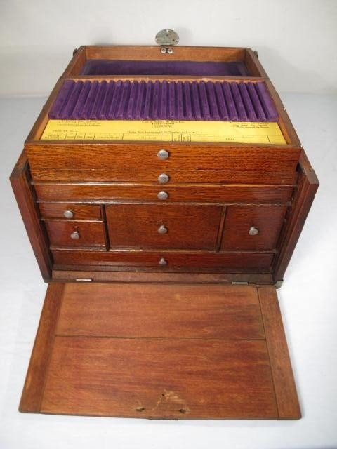53: WOODEN VELVET LINED DENTIST TOOL BOX - 3