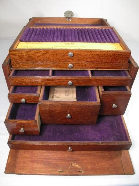 53: WOODEN VELVET LINED DENTIST TOOL BOX - 4