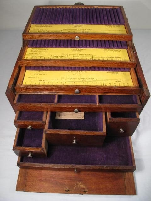 53: WOODEN VELVET LINED DENTIST TOOL BOX - 5