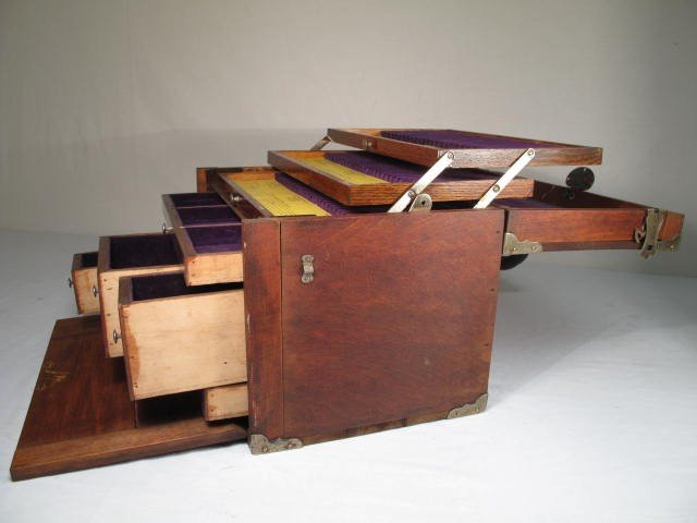 53: WOODEN VELVET LINED DENTIST TOOL BOX - 7