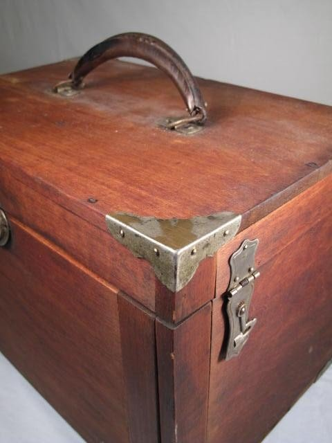 53: WOODEN VELVET LINED DENTIST TOOL BOX - 9