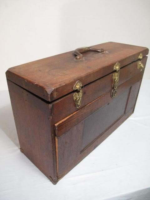 109: ANTIQUE WOODEN MACHINISTS TOOLBOX - 2