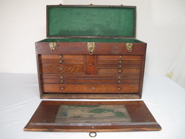 109: ANTIQUE WOODEN MACHINISTS TOOLBOX - 3
