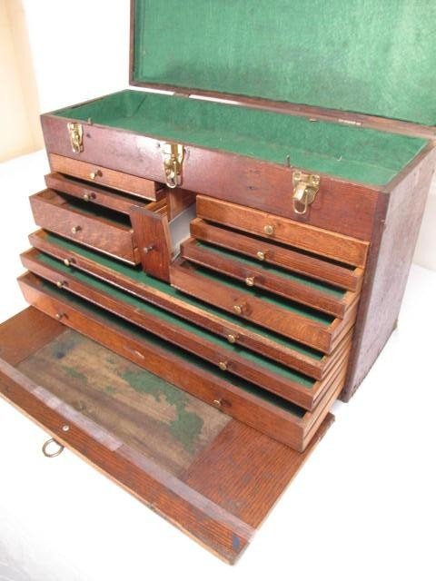 109: ANTIQUE WOODEN MACHINISTS TOOLBOX - 4