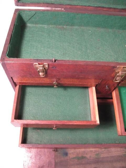 109: ANTIQUE WOODEN MACHINISTS TOOLBOX - 5