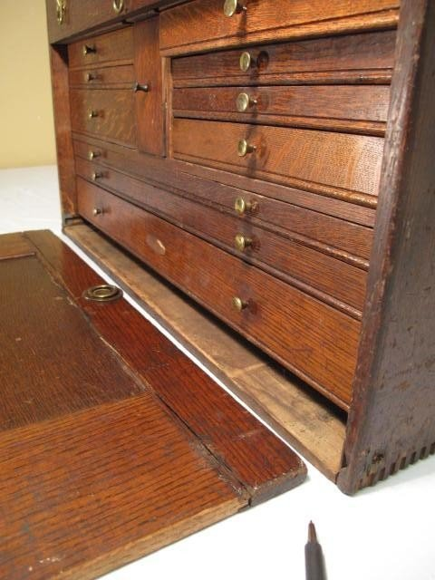 109: ANTIQUE WOODEN MACHINISTS TOOLBOX - 7