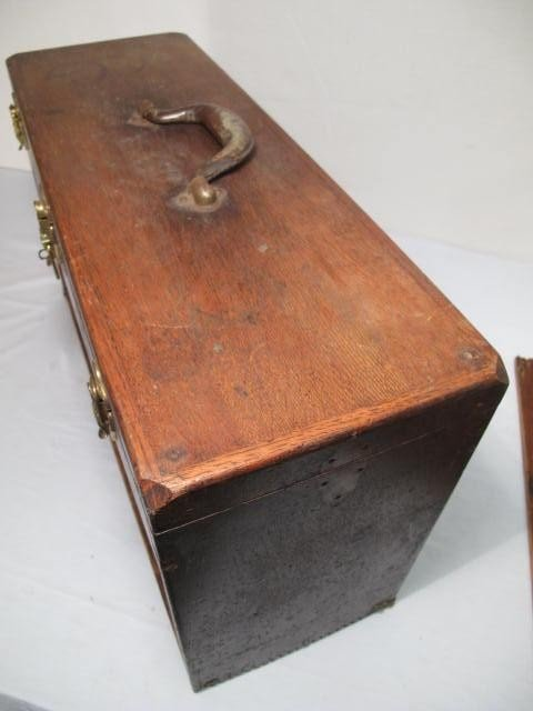 109: ANTIQUE WOODEN MACHINISTS TOOLBOX - 8