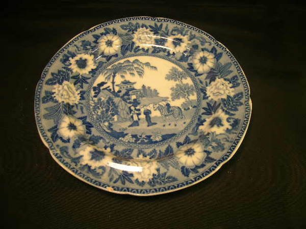 2: ANTIQUE TRANSFERWARE BLUE WHITE ROGERS PLATE ASIAN