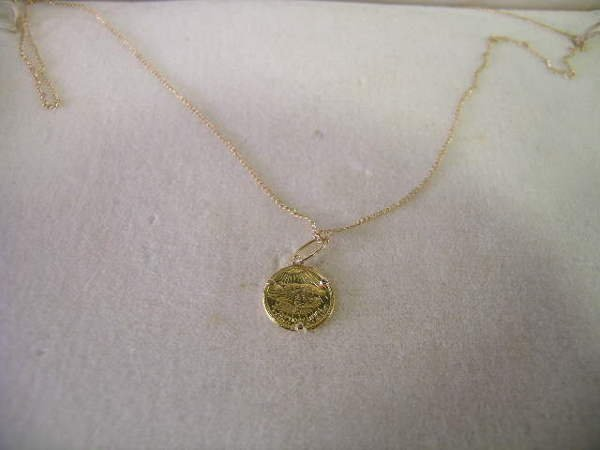 7: 14KT GOLD MINIATURE COIN NECKLACE BOXED
