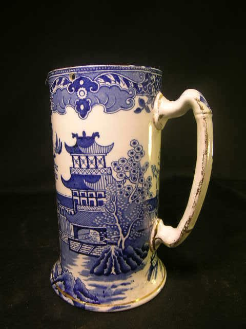 103: BURLEIGH WARE WILLOW BLUE WHITE PITCHER