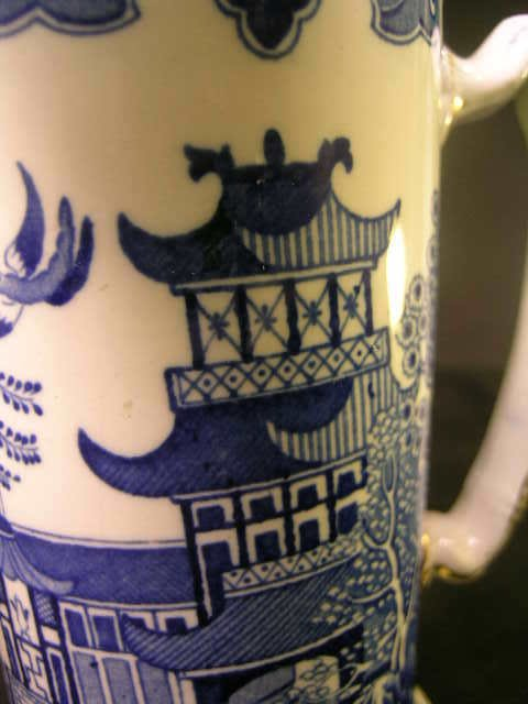103: BURLEIGH WARE WILLOW BLUE WHITE PITCHER - 2