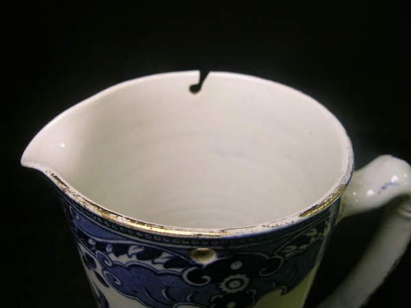 103: BURLEIGH WARE WILLOW BLUE WHITE PITCHER - 3