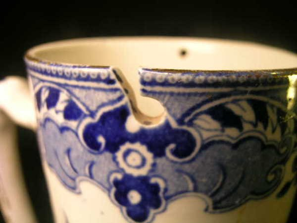 103: BURLEIGH WARE WILLOW BLUE WHITE PITCHER - 4